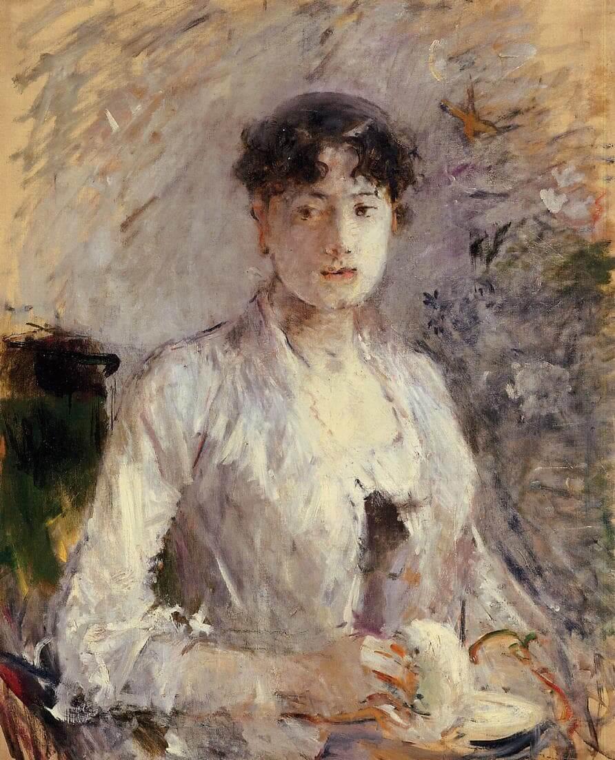 """""""Eflatunlar içinde genç kadın"""", Berthe Morisot"""